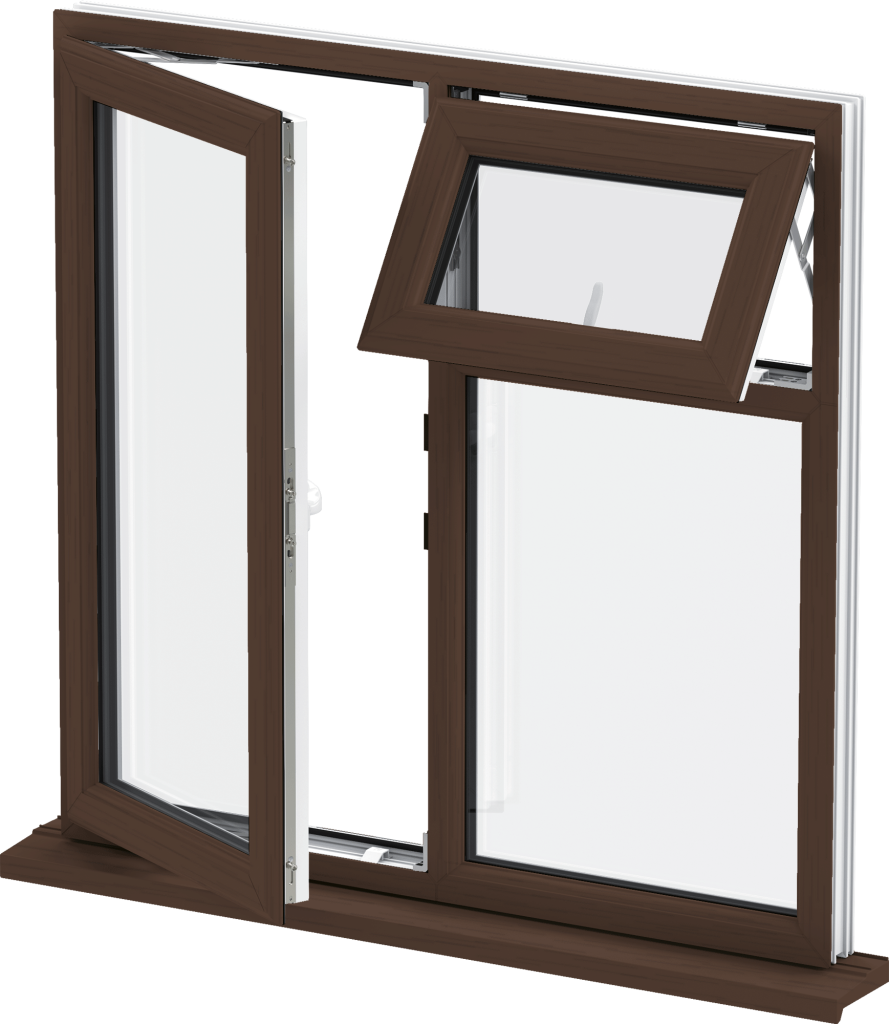 uPVC Casement Window Mahogany