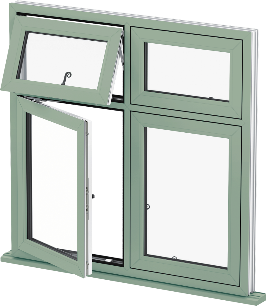 uPVC Flush Casement Window - Green