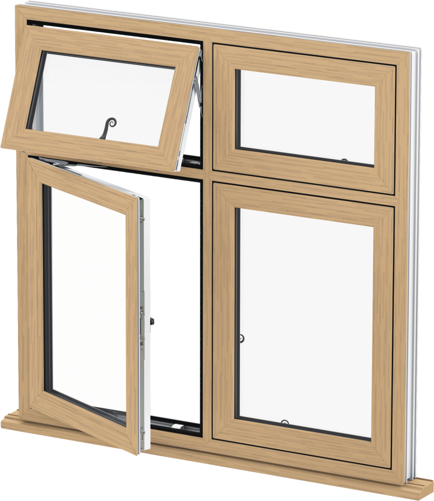 Irish Oak uPVC Flush Casement Window