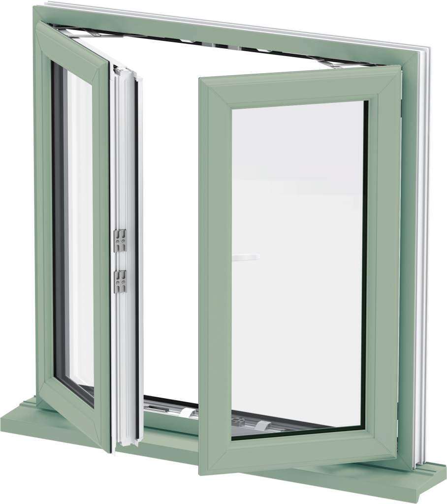 uPVC French Casement Window in Green