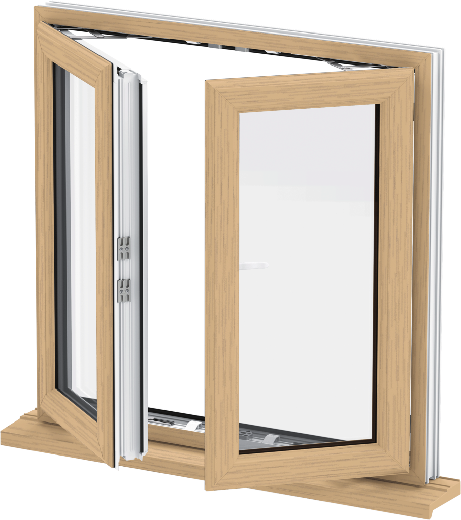 Irish Oak uPVC French Casement Window Norwich