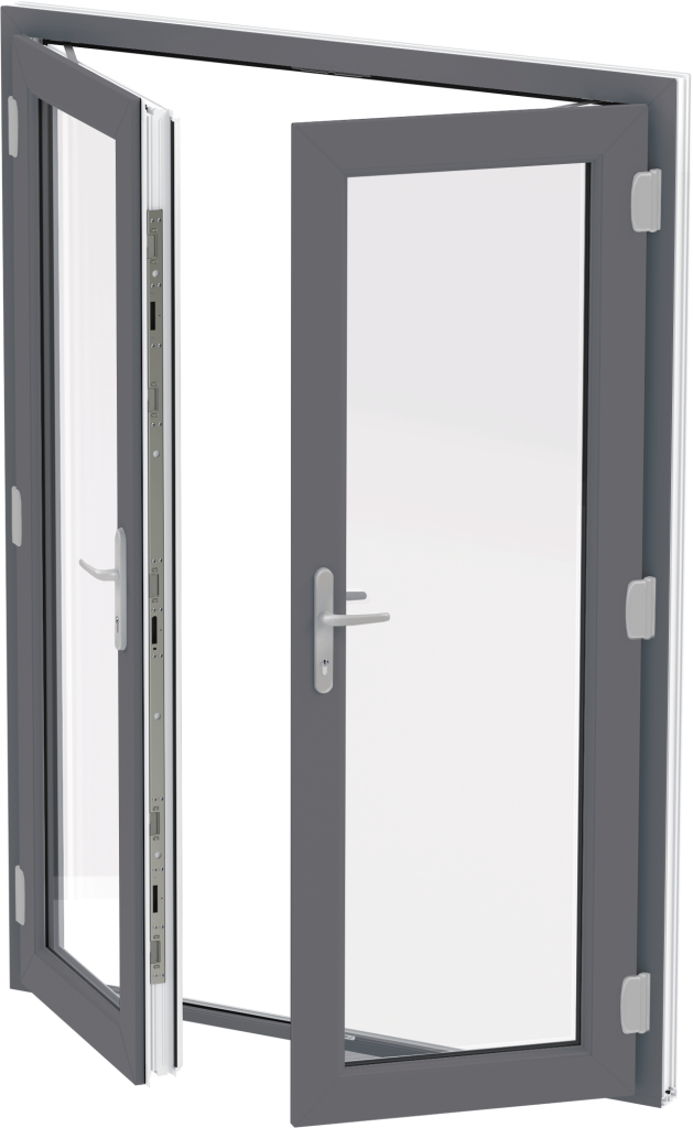 Grey uPVC French Door Anglia Trade